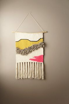 Bohemian Weaving / Modern Woven Tapestry / Gypsy Fringe / Wall Hanging / Rustic Textile / Home Décor / Neon Pink Wool / Yellow Green / Cream