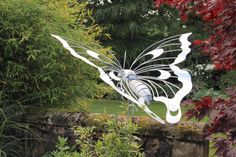 Flying Butterfly sculpture | 1.2m long | Galvanised steel finish | Commissioned for a private garden | 2017 Thrussells