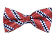 Bella Stripe - Coral (Bow Ties)   Ties, Bow Ties, and Pocket Squares   The Tie Bar