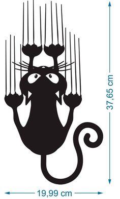 - Adesivo Decorativo Geladeira Gato Unhas Parede Carro Armário – R … – Beliebteste Bilder Decorative Sticker Fridge Cat Nails Wall Car Cabinet – R …, - Chat Halloween, Cat Nails, Wall Decor Stickers, Wall Sticker, Cat Silhouette, Cat Crafts, Cat Drawing, Cat Tattoo, Easy Drawings