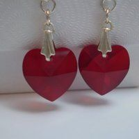 Red Swarovski Crystal Heart Earrings #handmade #jewelry by @justByou