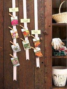 """you can easily turn a small space on your wall into a simple planting calendar. Find some ribbon and some clothespins, and arrange your seed packets by month. By hanging this handy """"calendar"""" in your potting shed or garage (make sure it's a space that stays relatively cool and shaded), you'll always see at a glance which seeds you should be sowing next."""