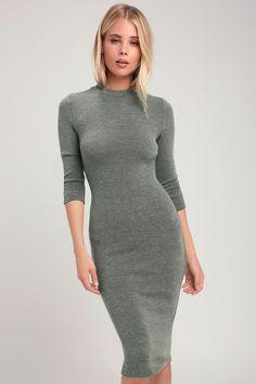 bd927b626df6 Lulus | Conversation Starter Olive Green Mock Neck Midi Sweater Dress |  Size X-Large