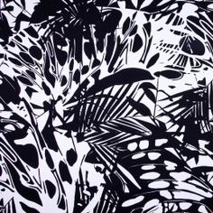 Theres a certain wild quality to the print on this Italian cotton twill, yes? A heavier medium-weight with a bold black-and-white design, pencil skirts and jackets would show off this graphic fabric.