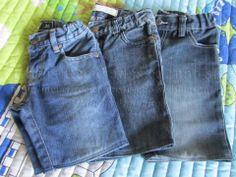 As calças estão rotas, nos joelhos, ou deixaram de servir? Aqui eu explico como reaproveitá-las. Reciclagem. Com Explicações.