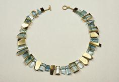 Suzan Rezac: Necklace - aquamarines, 18K green gold.