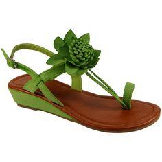 Womens Low Wedge Heel Bright Flower Petal Sandals    £17.99