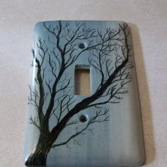 Tree Silhouette light switch cover by Peggers on Etsy Light Switch Art, Light Switch Plates, Light Painting, Diy Painting, Diy Light Fixtures, Diy Craft Projects, Crafts, Switch Plate Covers, Tree Silhouette