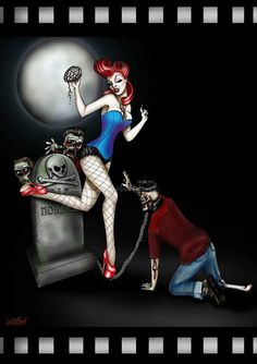 Zombie pinup goth lowbrow art print 'Pet by Isobelvonfinklestein, $20.00