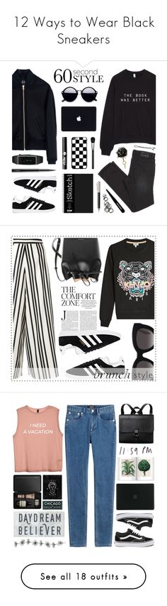 """""""12 Ways to Wear Black Sneakers"""" by polyvore-editorial ❤ liked on Polyvore featuring Blacksneakers, waystowear, B Brian Atwood, McQ by Alexander McQueen, adidas, MAC Cosmetics, Charlotte Russe, Faber-Castell, Tweezerman and Monki"""