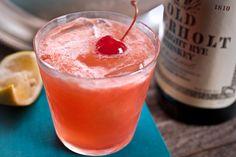 Ward Eight: rye or bourbon, lemon juice, orange juice, grenadine, cherry
