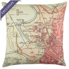 "Linen throw pillow with a detailed map of old Rome.  Product: PillowConstruction Material: LinenColor: Beige and redFeatures:  Handmade in the USA by TheWatsonShopEnvelope enclosureInsert included Dimensions: 16"" x 16""Cleaning and Care: Dry clean"