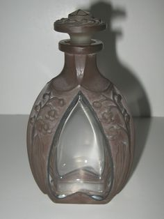 ANTIQUE VTG AMAZING BROWN STAINED LILY OF THE VALLEY ART NOUVEAU PERFUME BOTTLE