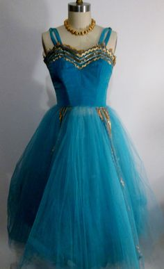 1950's Blue Tulle Party Prom Dress
