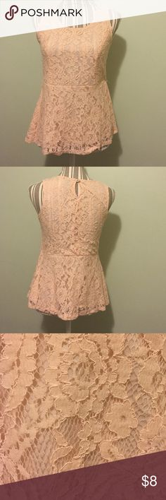 Rue21 lace peplum top! Pretty in pink! Soft pink/peach colored peplum top. Lace that makes it oh so dainty! There are belt loops for a belt, but belt is missing! Size M but can fit a S also. 57%rayon 43% nylon. No flaws that I can find! Feel free to make an offer! Rue 21 Tops
