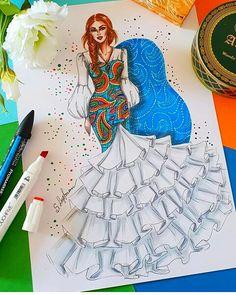 Fashion illustration of woman with fluffy skirt, Digital file Dress Design Sketches, Fashion Design Sketchbook, Fashion Design Drawings, Dress Illustration, Fashion Illustration Dresses, Medical Illustration, Fashion Model Sketch, Fashion Sketches, Arte Fashion