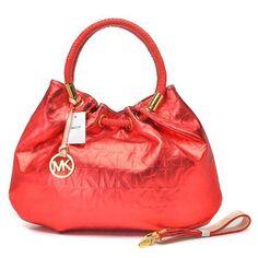 Michael Kors Ring Hobo Metallic Leather Large Red Drawstring Bags