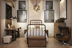 This screams vintage scientist to me!!! Love the bed and the lighting. it's not my sons style at all but would make an awesome boys bedroom!!!!