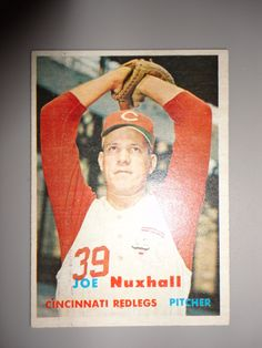 ** Nice ORIGINAL 1957 Topps Joe Nuxhall Cincinnati Reds Baseball Card - WOW **