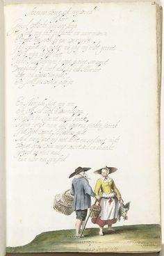 Gesina ter Borch | Boerenpaar, Gesina ter Borch, 1653 | Boerenpaar onder pastoraal gedicht met liefdesklacht van Tytir aan Grijsel, op de melodie van Waer ick mij wend of keer. De illustratie komt niet overeen met de beschrijving in het gedicht, de herders zijn marktgangers geworden en hun schapen kippen.