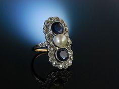 Amazing antique engagement ring with diamonds, blue saphire and pearl! Traum um 1900! Kostbarer Ring Verlobungsring Gold 585 Saphire Diamanten 2,2 ct Natur Perle, Verlobungsringe bei Die Halsbandaffaire