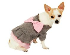$13.88-$20.85 Fashion Pet Gray Adorable Dog Sweater Dress, X-Small - Heather grey with light pink bow and ruffle trim and ruffle collar http://www.amazon.com/dp/B003V734J8/?tag=pin2pet-20