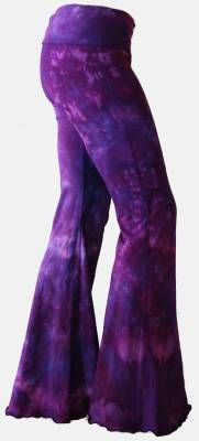 Purple tye-dye bell bottom pants