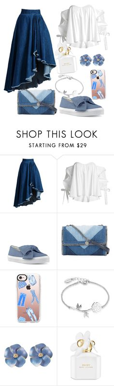 """""""Denim It Out"""" by claire-kinion ❤ liked on Polyvore featuring WithChic, Caroline Constas, Nine West, STELLA McCARTNEY, Casetify, Disney and Marc Jacobs"""