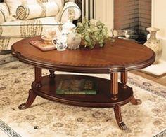 Vintage Coffee Table Retro Round Oval Mahogany Living Room Rack Lounge Antique
