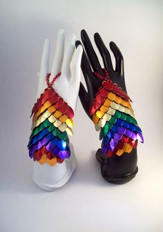 rainbow, slave bracelet, handflower, bellydance, fairy, dragon, costume, armor, rainbow fairy, rainbow dragon, fantasy armor, hand armor by Chainedcreativity, $65.00 USD