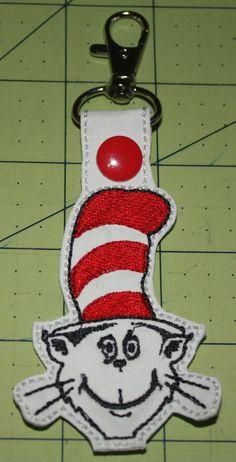 Dr. Seuss Cat in the Hat Key Chain Zipper by DollyGeeWillikers
