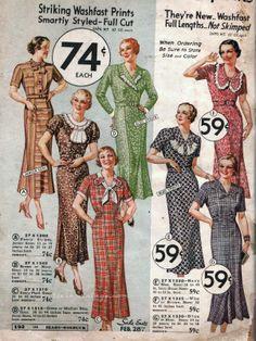 vintage 1930s dresses / 30s fashion / dust bowl dress / 30s sears catalog