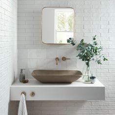 Bathroom Decor sink Beautiful tile ideas for bathr - bathroomdecor Bathroom Layout, Bathroom Interior Design, Modern Bathroom, Paint Bathroom, White Bathrooms, Bathroom Ideas, Bathroom Cabinets, Shower Ideas, 1950s Bathroom