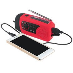 Mightyhand Emergency Solar Hand Crank FM Radio, MP3 Player, Flashlight, 2000mAh Smart Cell Phone Charger w/ USB Cable (Red)