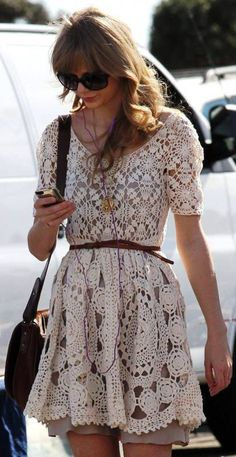 Taylor Swift vintage cute hand-crafted crochet mini Dress Made To Order in any size and color. $199.00, via Etsy.