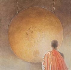 Wall Art Print entitled Young Buddhist Monk And Gong Bhutan 2010 by The Fine Art Masters ** Want to know more, click on the image.