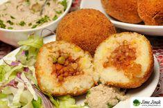 Sicilské arancini (bezlepkové) Arancini, Going Vegan, Hummus, Salsa, Muffin, Breakfast, Ethnic Recipes, Morning Coffee, Muffins