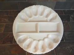 Old Vintage Round Bright White Milk Glass Egg Plate Snack Tray Diamond Hobnail   eBay