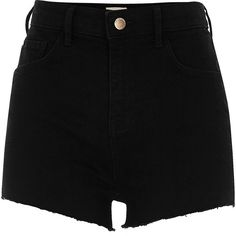 River Island Black high waisted stretch hot pants (345 HRK) ❤ liked on Polyvore featuring shorts, bottoms, pants, short, black, casual shorts, women, stretchy shorts, mini shorts and hot pants