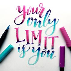 """2,365 Likes, 65 Comments - Alisse Courter (@alissecourter) on Instagram: """"Your only limit is you Combining challenges again, this is for day 7 of #letteringwithpositivity…"""""""