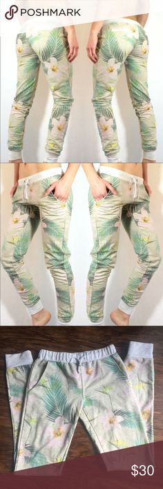 MAUI & SONS - Tropical Sweat Pants Tropical floral aloha sweat pants/joggers! Perfect for lounging or every day wear. Draw string pants with pockets on sides and faux pockets on the back. 60% cotton 40% polyester Maui & Sons Pants Ankle & Cropped