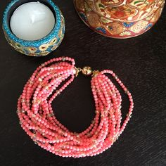 """HPNWOT 12 Strand Coral & Crystal Bracelet HOST PICK 5/24 for the Spring Flirt Party!   NWOT 8"""" long 12 Strand 3mm Round Pink Coral & 4mm Champagne Rondelle Crystal Bracelet with 18K GP Magnetic Clasp. No Trades & No PayPal Jewelry Bracelets"""