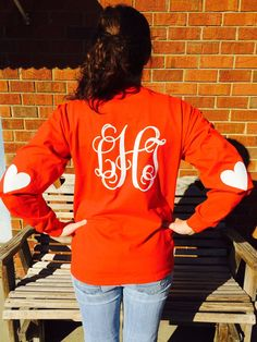 Celebrate Valentines Day EVERYDAY with this LOVELY long sleeved shirt with heart elbow patches. Personalized with glitter vinyl, this shirt