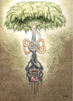 Yggdrasil... the Norse Ash-tree of existence, has its roots deep-down in the kingdoms of Hel, or Death: its trunk reaches up heaven-high, spreads its boughs over the whole Universe:  it is the Tree of Existence. At the foot of it, in the Death-Kingdom, sit the three Norns, Fates--the Past, Present and Future; watering its roots from the Sacred Well.