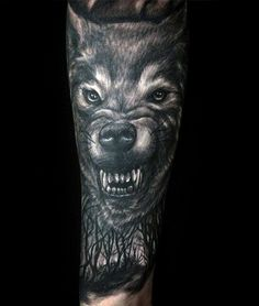 Growling Wolf Male Shaded Forest Forest Sleeve Tattoos