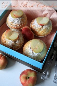Sour Cream Donut Peach Cupcakes by Not Quite Nigella Donut Peach, Sour Cream Donut, Peach Jam, Sweet Peach, Cupcake Tray, Cupcake Cakes, Baby Cakes, Cup Cakes, Peach Cupcakes