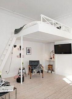 10 stunning space saving ideas for apartment 00004 - tatuajesparahombres Girl Bedroom Designs, Room Ideas Bedroom, Small Room Bedroom, Bedroom Loft, Small Rooms, Small Apartments, Home Bedroom, Bedroom Decor, Bedrooms