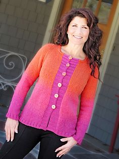 A graduated color change in the Tequilla Sunrise Pullover gives this sweater a dip-dyed look. The cardigan is work seamlessly from the top down on circular needles using double pointed needles for the sleeves. The back is longer than the front and is worked with short rows at the lower edge.