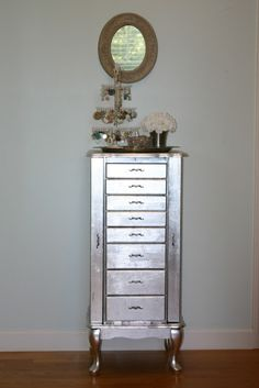 Jen-uinely Inspired: DIY: Silver Leaf Jewelry Cabinet