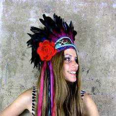 Frida Vibrant feather headdress by Hapuska on Etsy, £149.00